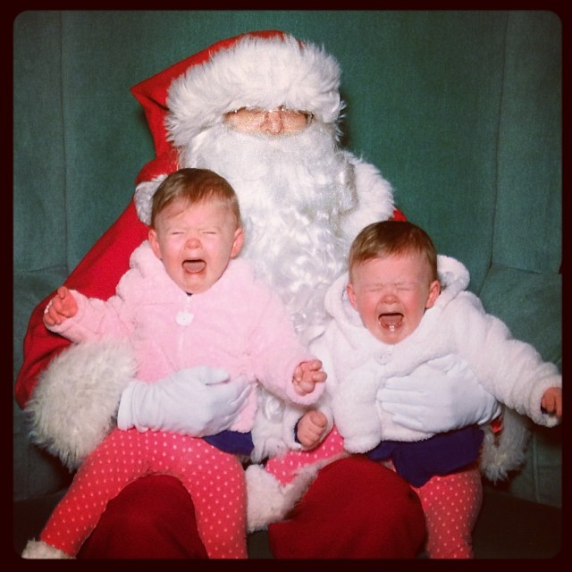 screaming twins on Santa's lap