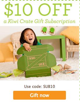 Kiwi Crate coupon code SUB10 saves $10