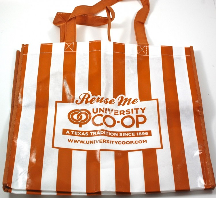 UT co-op striped tote