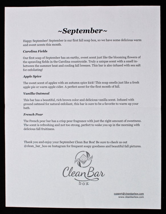September 2015 Clean Bar Box review