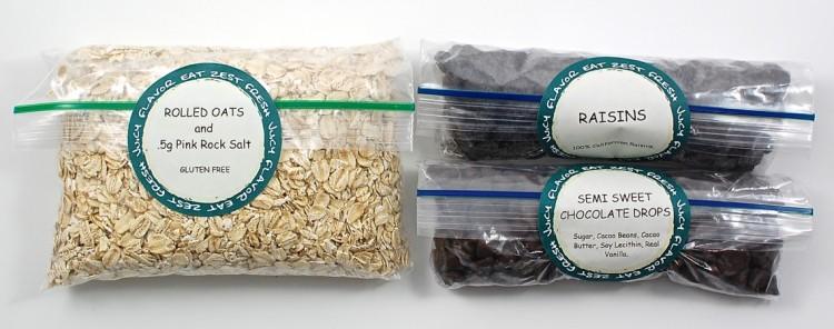 oats, chocolate chips, raisins