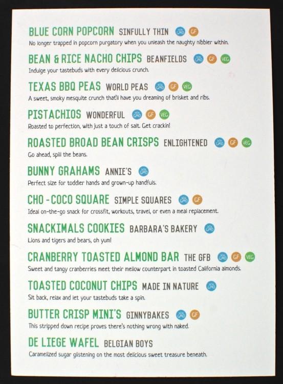 September 2015 Snack Sack review