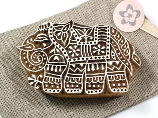hand carved elephant stamp