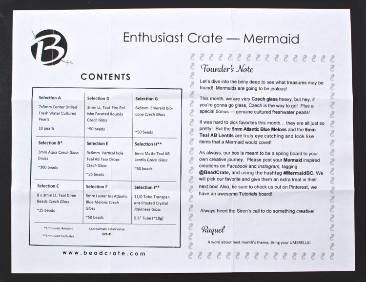 BeadCrate March 2016 mermaid box