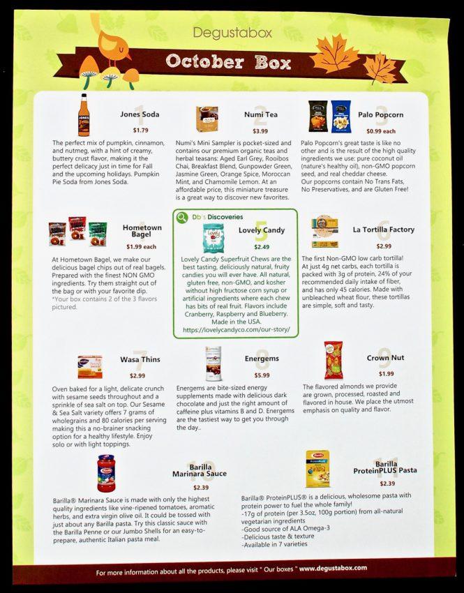 October 2016 Degustabox review